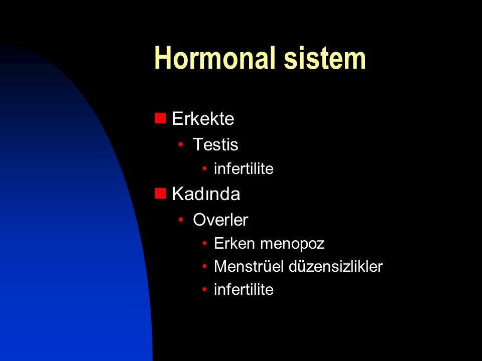Hormonal sistem  Erkekte •Testis •infertilite  Kadında •Overler •Erken menopoz •Menstrüel düzensizlikler •infertilite
