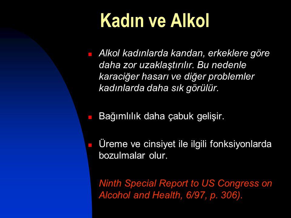 Kadın ve Alkol  Alkol kadınlarda kandan, erkeklere göre daha zor uzaklaştırılır. Bu nedenle karaciğer hasarı ve diğer problemler kadınlarda daha sık