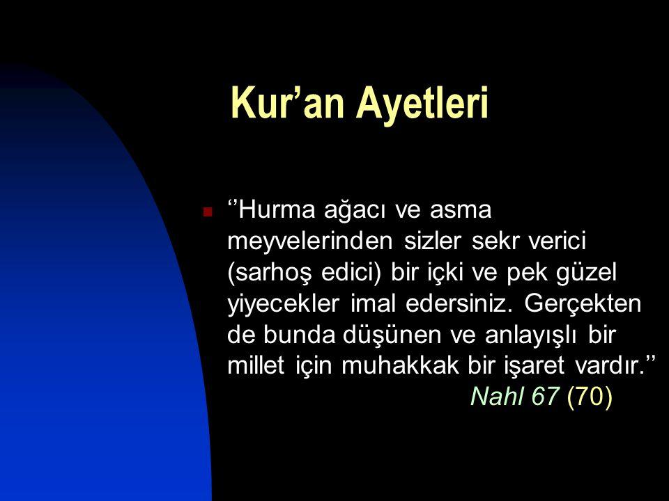 Kur'an Ayetleri  ''Hurma ağacı ve asma meyvelerinden sizler sekr verici (sarhoş edici) bir içki ve pek güzel yiyecekler imal edersiniz. Gerçekten de