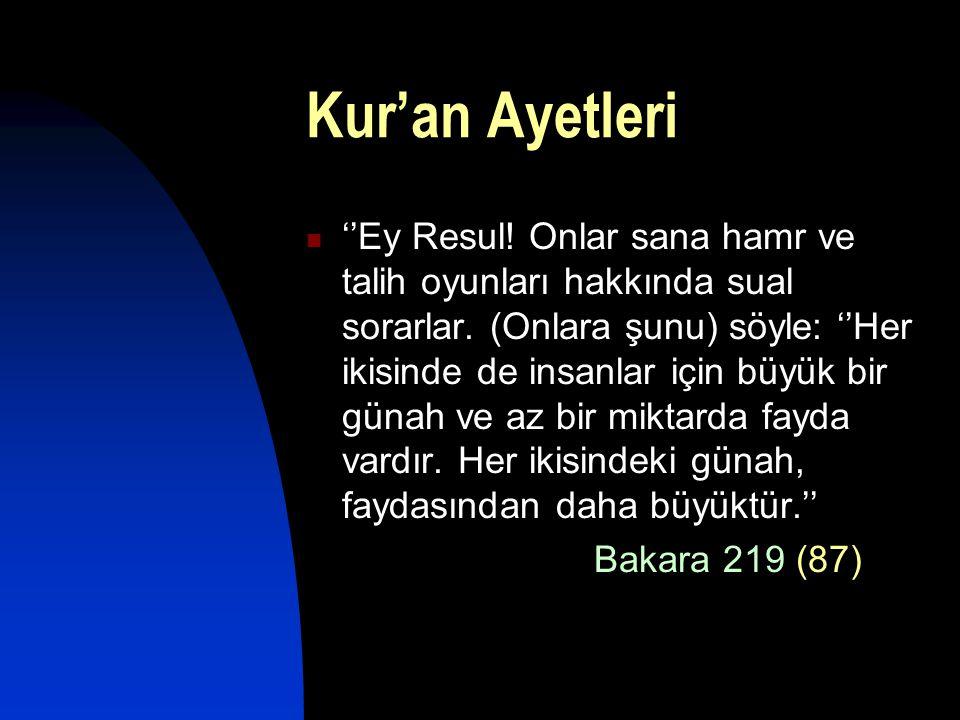 Kur'an Ayetleri  ''Ey Resul! Onlar sana hamr ve talih oyunları hakkında sual sorarlar. (Onlara şunu) söyle: ''Her ikisinde de insanlar için büyük bir