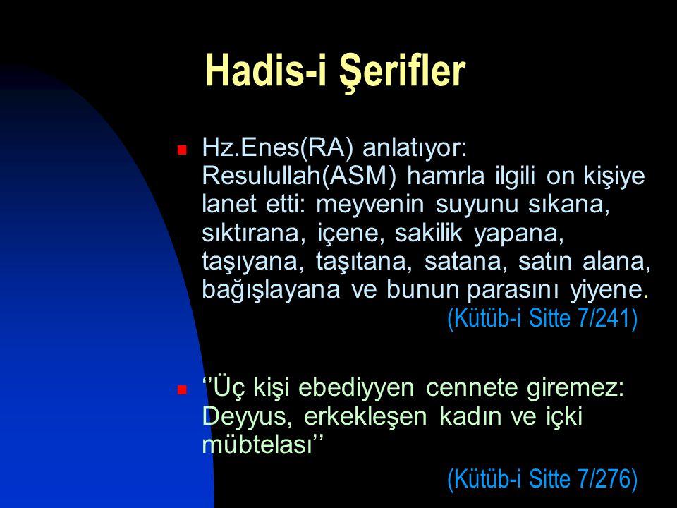 Hadis-i Şerifler  Hz.Enes(RA) anlatıyor: Resulullah(ASM) hamrla ilgili on kişiye lanet etti: meyvenin suyunu sıkana, sıktırana, içene, sakilik yapana