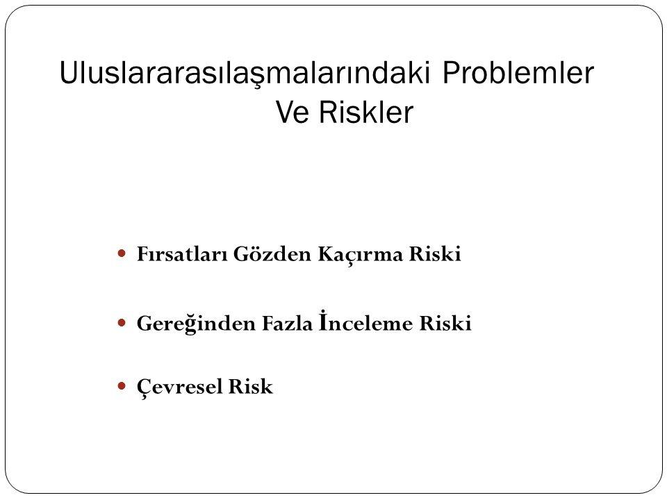 Uluslararasılaşmalarındaki Problemler Ve Riskler  Fırsatları Gözden Kaçırma Riski  Gere ğ inden Fazla İ nceleme Riski  Çevresel Risk