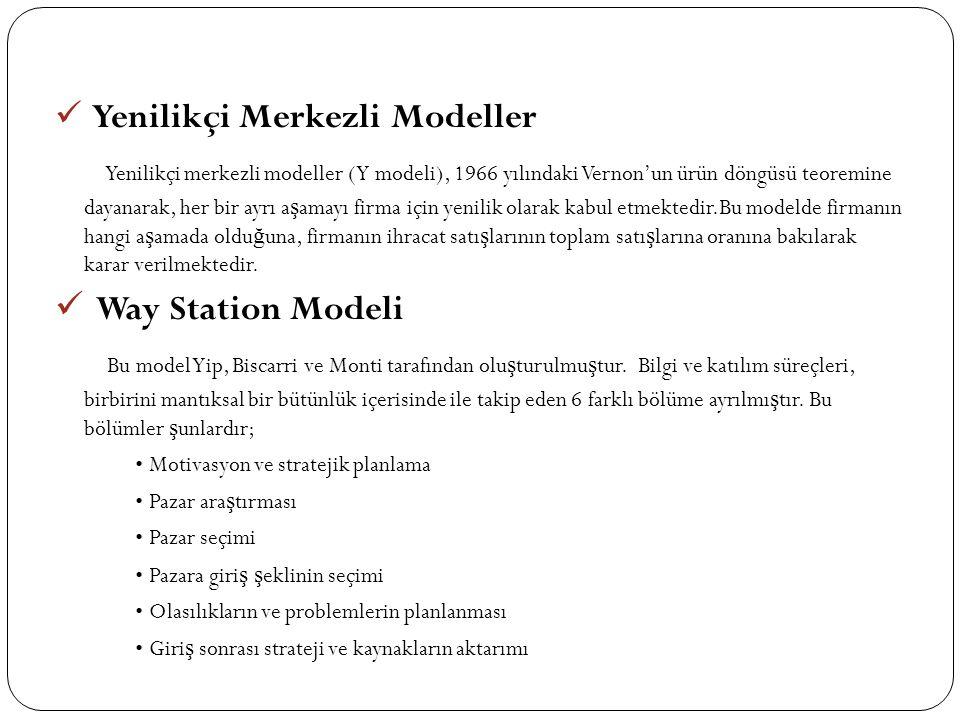  Yenilikçi Merkezli Modeller Yenilikçi merkezli modeller (Y modeli), 1966 yılındaki Vernon'un ürün döngüsü teoremine dayanarak, her bir ayrı a ş amayı firma için yenilik olarak kabul etmektedir.Bu modelde firmanın hangi a ş amada oldu ğ una, firmanın ihracat satı ş larının toplam satı ş larına oranına bakılarak karar verilmektedir.