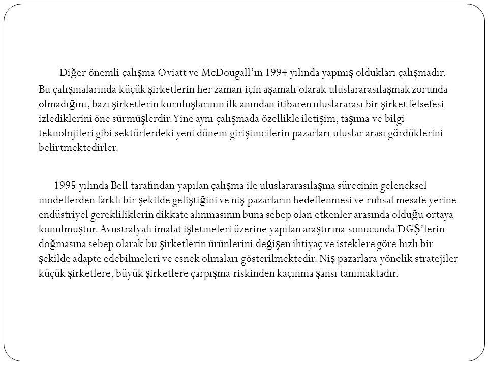 Di ğ er önemli çalı ş ma Oviatt ve McDougall'ın 1994 yılında yapmı ş oldukları çalı ş madır.