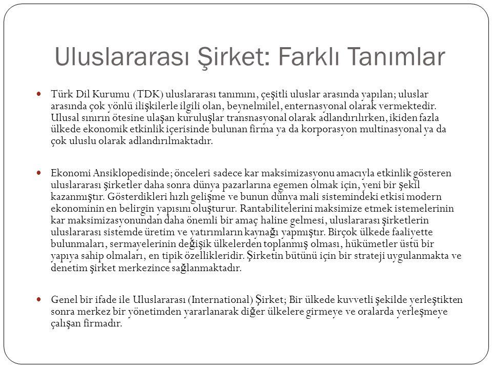 Uluslararası Şirket: Farklı Tanımlar  Türk Dil Kurumu (TDK) uluslararası tanımını, çe ş itli uluslar arasında yapılan; uluslar arasında çok yönlü ili ş kilerle ilgili olan, beynelmilel, enternasyonal olarak vermektedir.