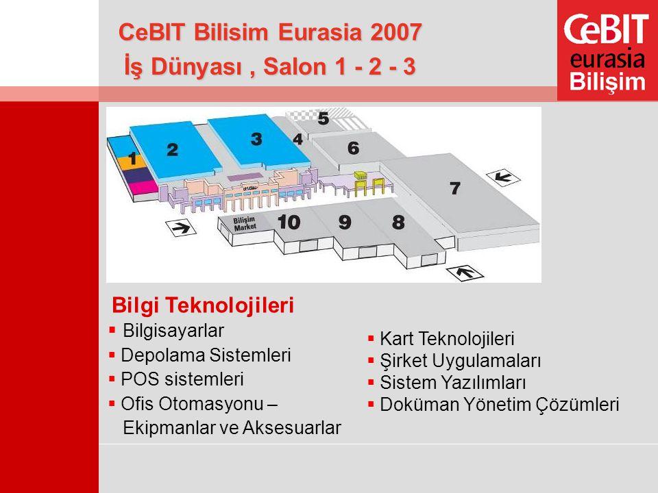 Bilgi Teknolojileri  Bilgisayarlar  Depolama Sistemleri  POS sistemleri  Ofis Otomasyonu – Ekipmanlar ve Aksesuarlar İş Dünyası, Salon 1 - 2 - 3 