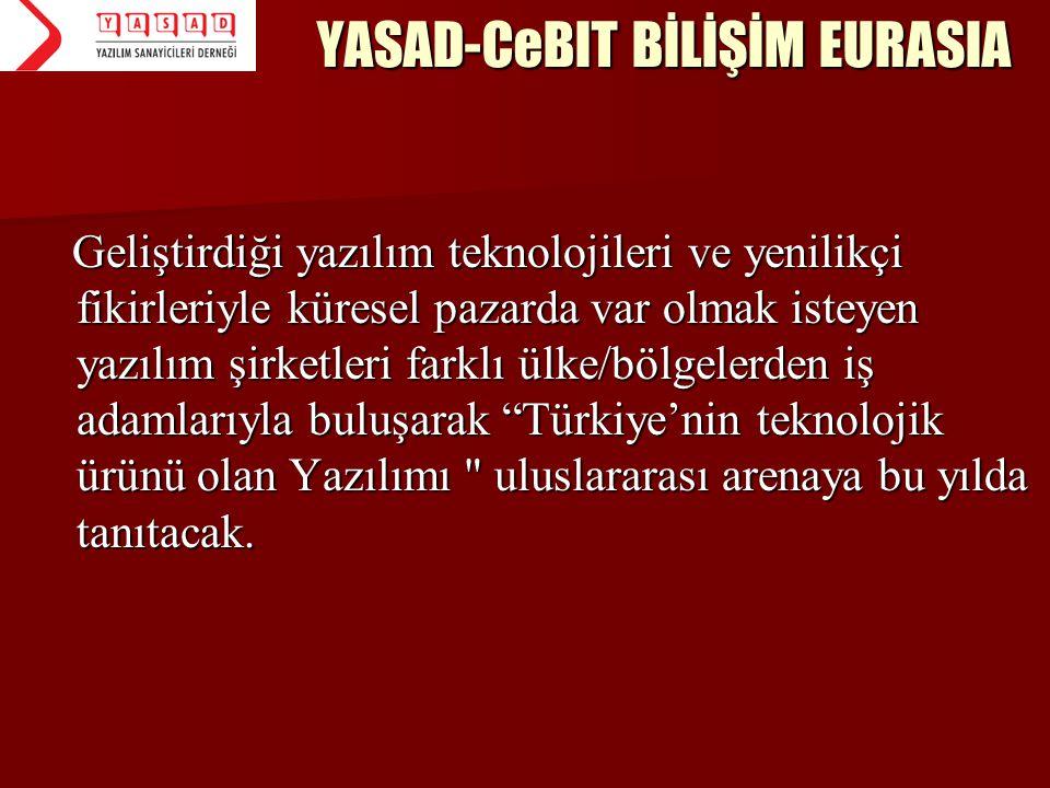 YASAD-CeBIT BİLİŞİM EURASIA Geliştirdiği yazılım teknolojileri ve yenilikçi fikirleriyle küresel pazarda var olmak isteyen yazılım şirketleri farklı ü