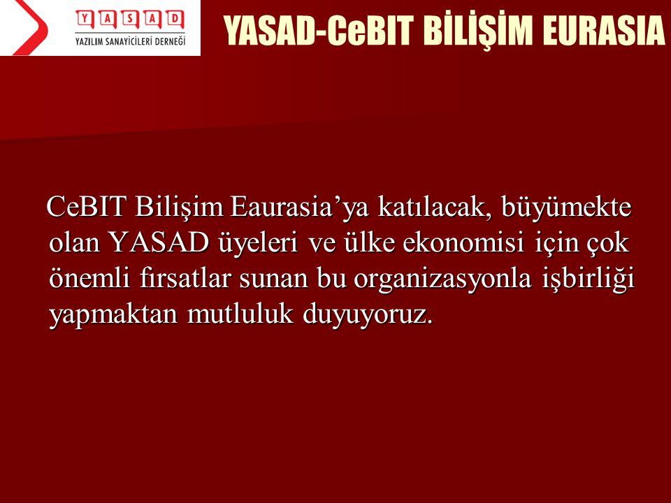 CeBIT Bilişim Eaurasia'ya katılacak, büyümekte olan YASAD üyeleri ve ülke ekonomisi için çok önemli fırsatlar sunan bu organizasyonla işbirliği yapmak