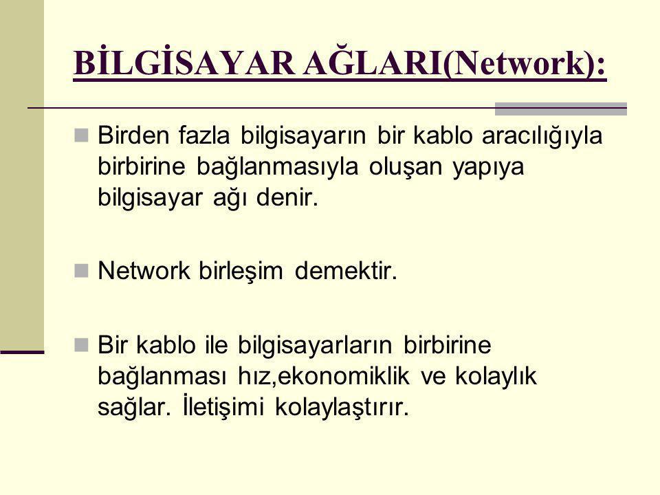 BİLGİSAYAR AĞLARI(Network):  Birden fazla bilgisayarın bir kablo aracılığıyla birbirine bağlanmasıyla oluşan yapıya bilgisayar ağı denir.  Network b