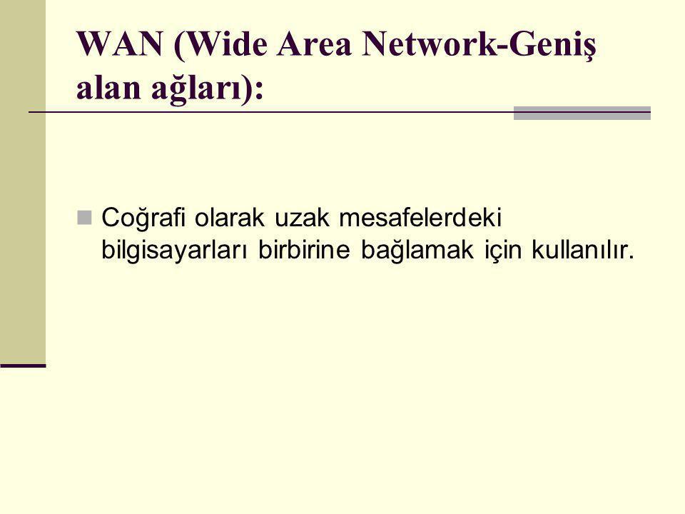 WAN (Wide Area Network-Geniş alan ağları):  Coğrafi olarak uzak mesafelerdeki bilgisayarları birbirine bağlamak için kullanılır.