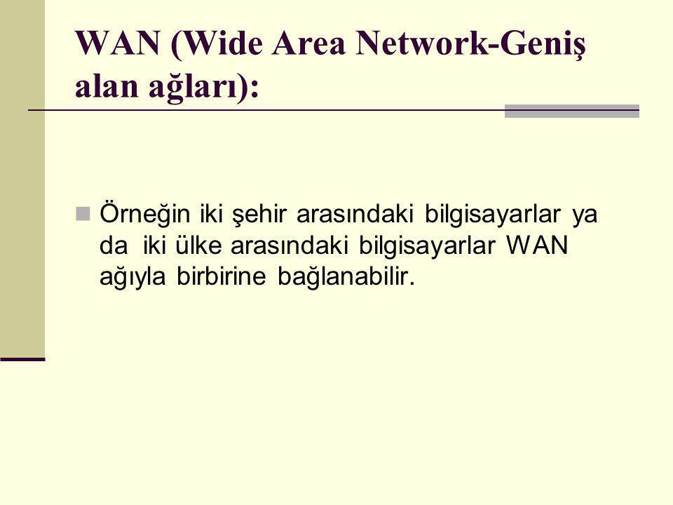 WAN (Wide Area Network-Geniş alan ağları):  Örneğin iki şehir arasındaki bilgisayarlar ya da iki ülke arasındaki bilgisayarlar WAN ağıyla birbirine b