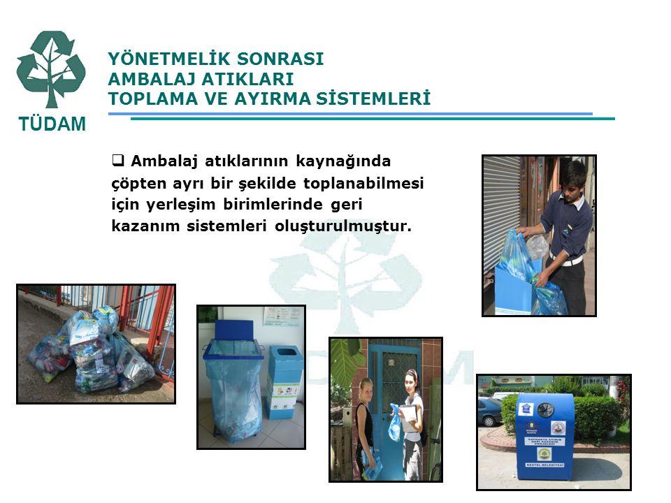  Ambalaj atıklarının kaynağında çöpten ayrı bir şekilde toplanabilmesi için yerleşim birimlerinde geri kazanım sistemleri oluşturulmuştur. YÖNETMELİK