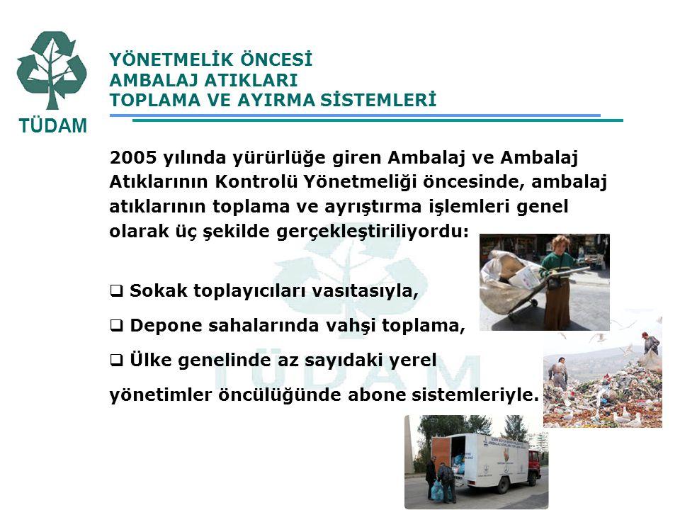 YÖNETMELİK ÖNCESİ AMBALAJ ATIKLARI TOPLAMA VE AYIRMA SİSTEMLERİ 2005 yılında yürürlüğe giren Ambalaj ve Ambalaj Atıklarının Kontrolü Yönetmeliği önces