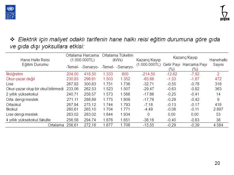 Hane Halkı Reisi Eğitim Durumu Ortalama Harcama (1.000.000TL) Ortalama Tüketim (kWs) Kazanç/Kayıp (1.000.000TL) Kazanç/Kayıp Hanehalkı Sayısı -Temel--