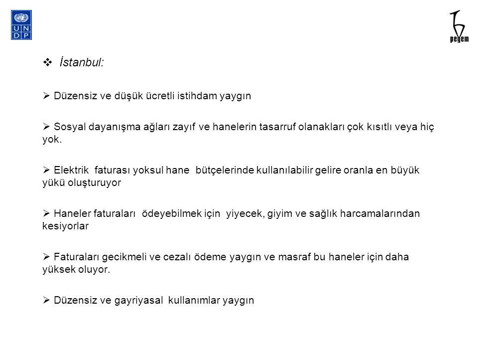  İstanbul:  Düzensiz ve düşük ücretli istihdam yaygın  Sosyal dayanışma ağları zayıf ve hanelerin tasarruf olanakları çok kısıtlı veya hiç yok.  E