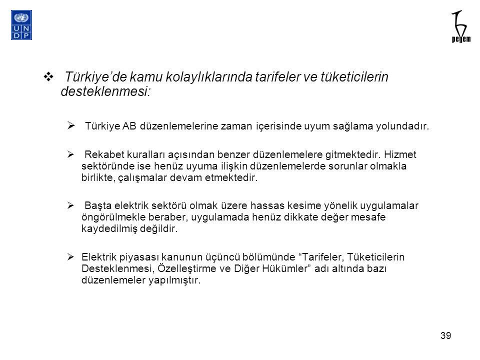  Türkiye'de kamu kolaylıklarında tarifeler ve tüketicilerin desteklenmesi:  Türkiye AB düzenlemelerine zaman içerisinde uyum sağlama yolundadır.  R