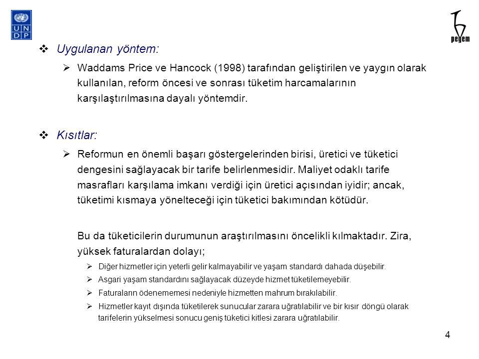  Uygulanan yöntem:  Waddams Price ve Hancock (1998) tarafından geliştirilen ve yaygın olarak kullanılan, reform öncesi ve sonrası tüketim harcamalar