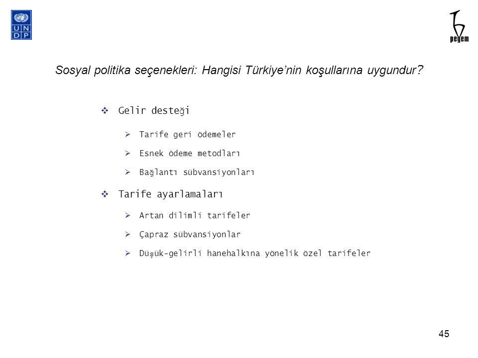 Sosyal politika seçenekleri: Hangisi Türkiye'nin koşullarına uygundur ?  Gelir deste ğ i  Tarife geri ödemeler  Esnek ödeme metodları  Ba ğ lantı