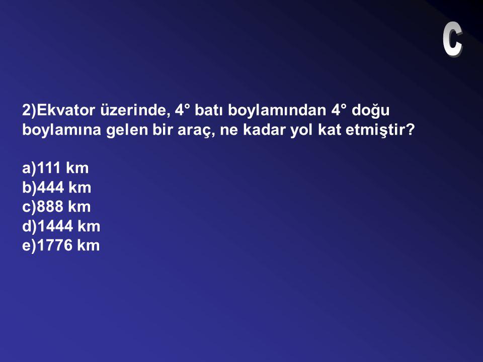 12)42 boylam Güneş karşısından kaç dakikada geçer? a)100 b)125 c)168 d)94 e)78