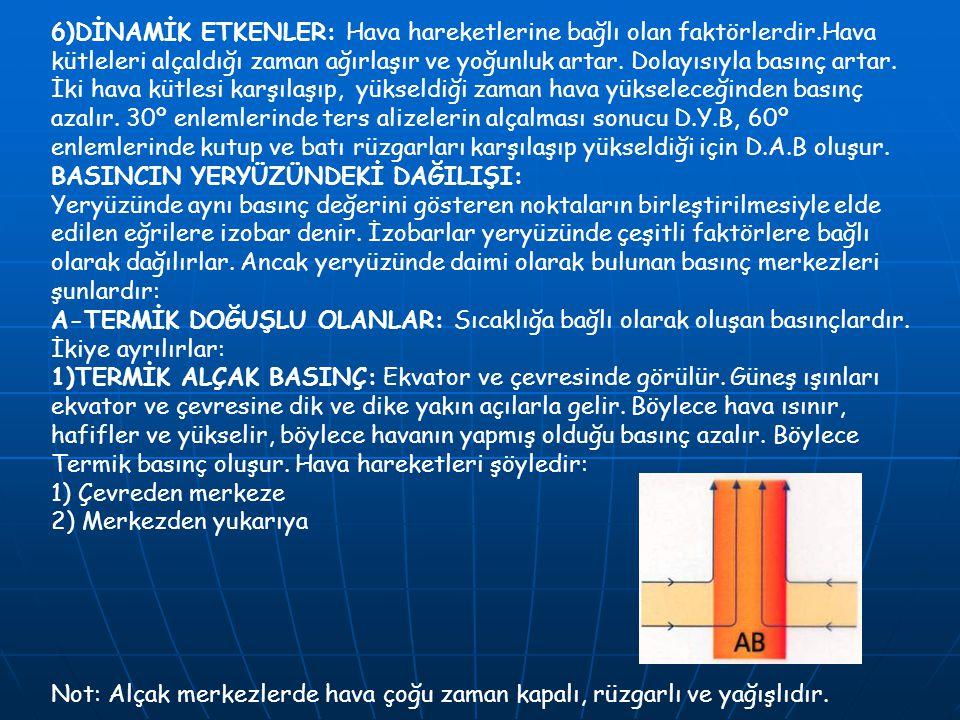 6)DİNAMİK ETKENLER: Hava hareketlerine bağlı olan faktörlerdir.Hava kütleleri alçaldığı zaman ağırlaşır ve yoğunluk artar. Dolayısıyla basınç artar. İ