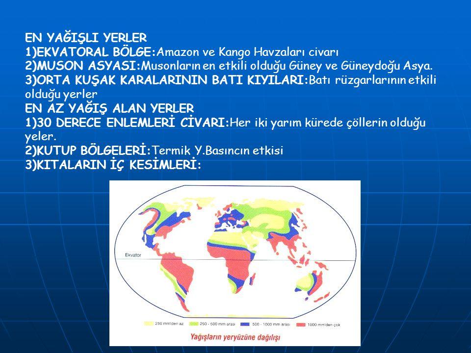 EN YAĞIŞLI YERLER 1)EKVATORAL BÖLGE:Amazon ve Kango Havzaları civarı 2)MUSON ASYASI:Musonların en etkili olduğu Güney ve Güneydoğu Asya. 3)ORTA KUŞAK