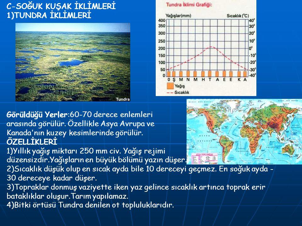 C-SOĞUK KUŞAK İKLİMLERİ 1)TUNDRA İKLİMLERİ Görüldüğü Yerler:60-70 derece enlemleri arasında görülür. Özellikle Asya Avrupa ve Kanada'nın kuzey kesimle