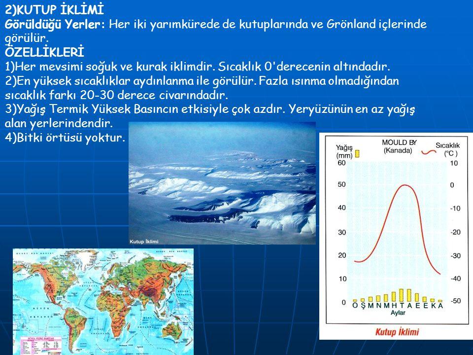 2)KUTUP İKLİMİ Görüldüğü Yerler: Her iki yarımkürede de kutuplarında ve Grönland içlerinde görülür. ÖZELLİKLERİ 1)Her mevsimi soğuk ve kurak iklimdir.