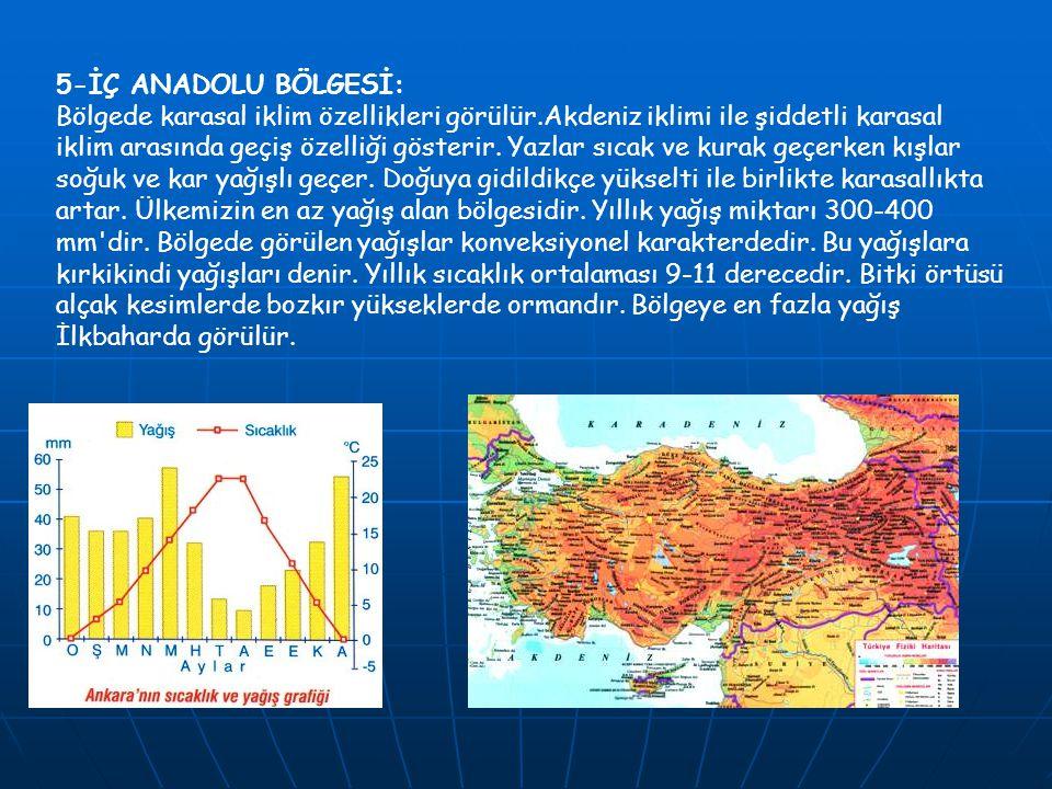 5-İÇ ANADOLU BÖLGESİ: Bölgede karasal iklim özellikleri görülür.Akdeniz iklimi ile şiddetli karasal iklim arasında geçiş özelliği gösterir. Yazlar sıc