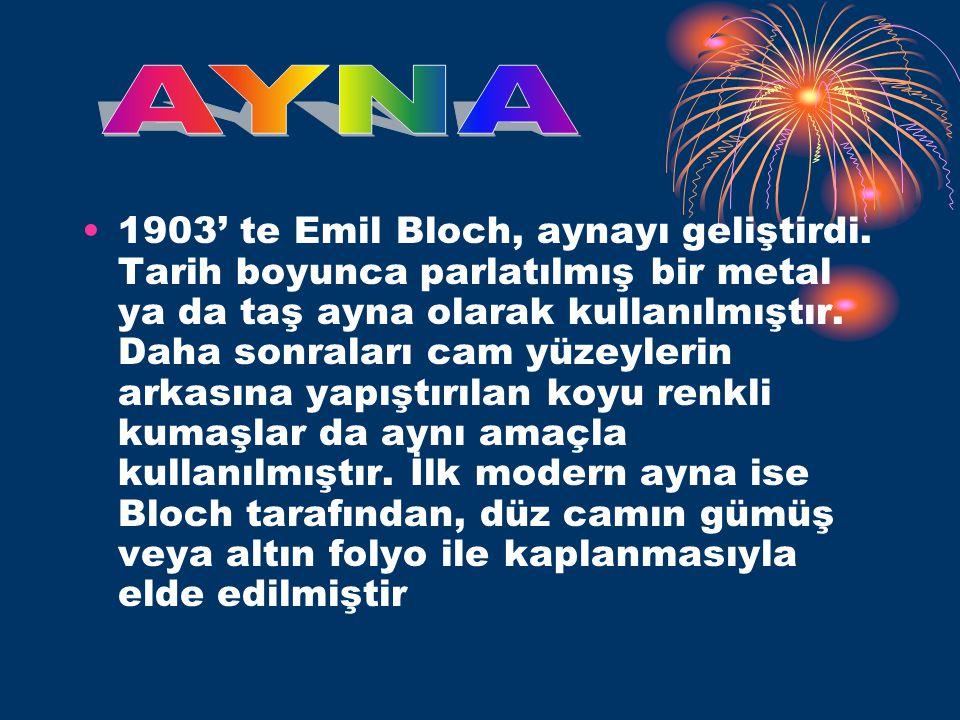 •1903' te Emil Bloch, aynayı geliştirdi.