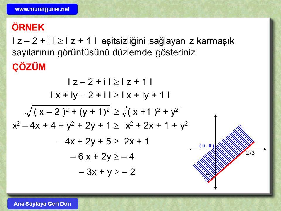 ÖRNEK I z – 2 + i I  I z + 1 I eşitsizliğini sağlayan z karmaşık sayılarının görüntüsünü düzlemde gösteriniz. ÇÖZÜM I z – 2 + i I  I z + 1 I I x + i