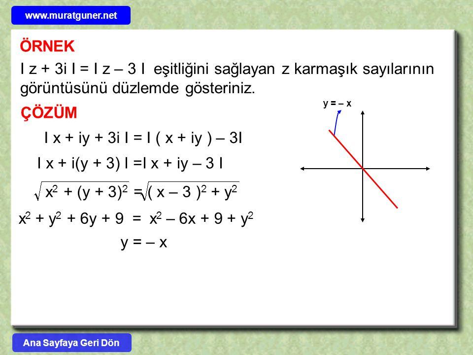 ÖRNEK I z + 3i I = I z – 3 I eşitliğini sağlayan z karmaşık sayılarının görüntüsünü düzlemde gösteriniz. ÇÖZÜM I x + iy + 3i I = I ( x + iy ) – 3I I x