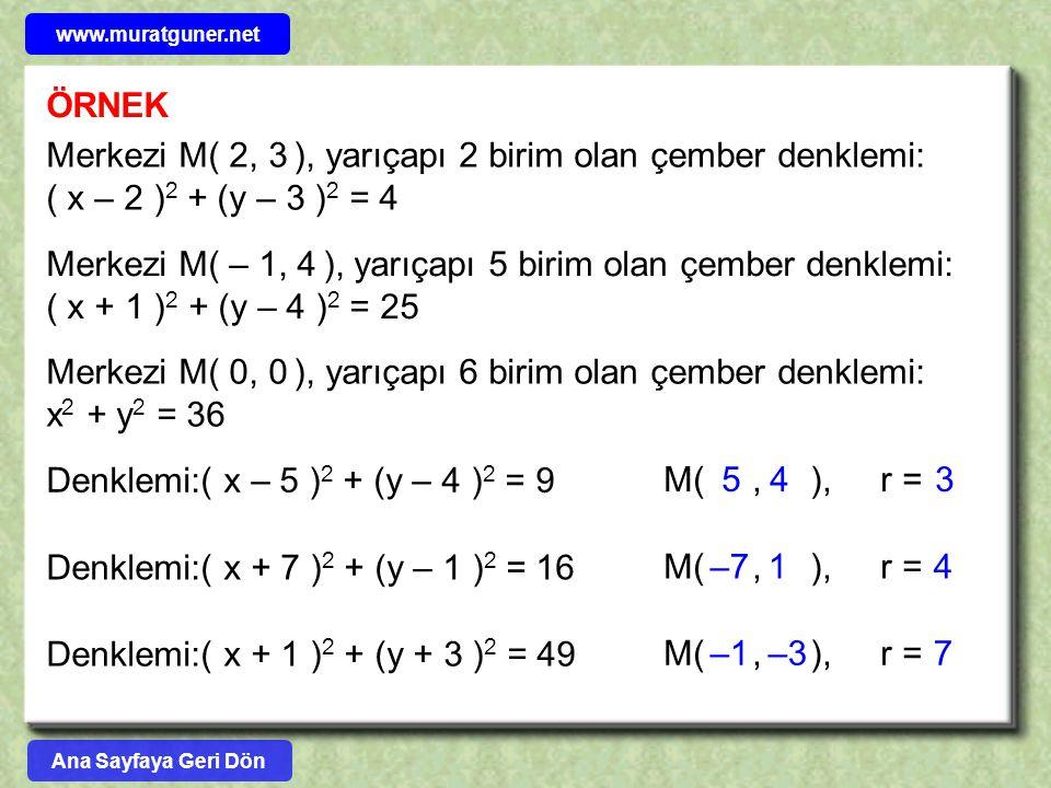 ÖRNEK Merkezi M( 2, 3 ), yarıçapı 2 birim olan çember denklemi: ( x – 2 ) 2 + (y – 3 ) 2 = 4 Merkezi M( – 1, 4 ), yarıçapı 5 birim olan çember denklem