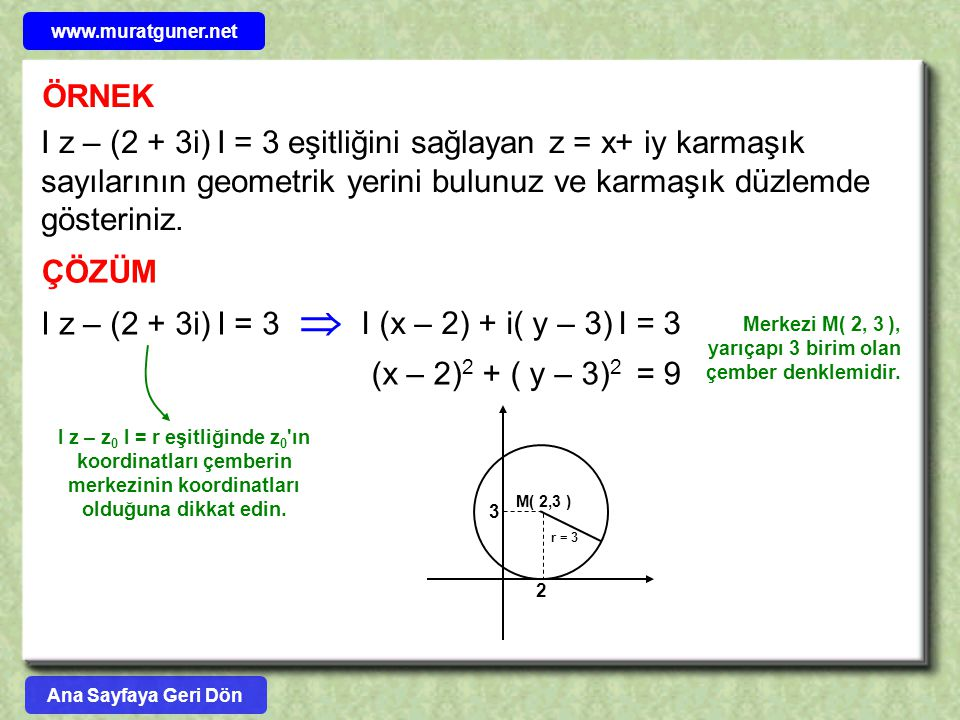 ÖRNEK I z – (2 + 3i) I = 3 eşitliğini sağlayan z = x+ iy karmaşık sayılarının geometrik yerini bulunuz ve karmaşık düzlemde gösteriniz. ÇÖZÜM  I z –