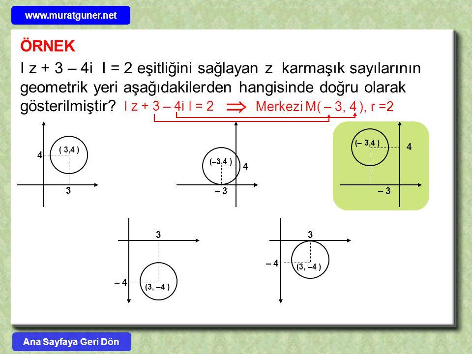 ÖRNEK I z + 3 – 4i I = 2 eşitliğini sağlayan z karmaşık sayılarının geometrik yeri aşağıdakilerden hangisinde doğru olarak gösterilmiştir? 3 4 ( 3,4 )