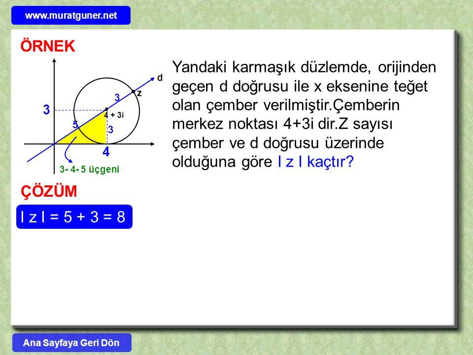 ÖRNEK d 4 + 3i Yandaki karmaşık düzlemde, orijinden geçen d doğrusu ile x eksenine teğet olan çember verilmiştir.Çemberin merkez noktası 4+3i dir.Z sa