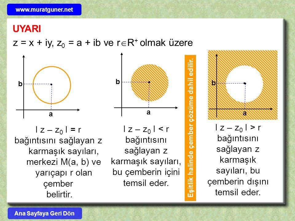 UYARI z = x + iy, z 0 = a + ib ve r  R + olmak üzere I z – z 0 I = r bağıntısını sağlayan z karmaşık sayıları, merkezi M(a, b) ve yarıçapı r olan çem