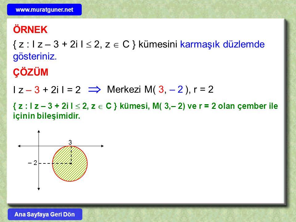 ÖRNEK { z : I z – 3 + 2i I  2, z  C } kümesini karmaşık düzlemde gösteriniz. ÇÖZÜM I z – 3 + 2i I = 2 { z : I z – 3 + 2i I  2, z  C } kümesi, M( 3