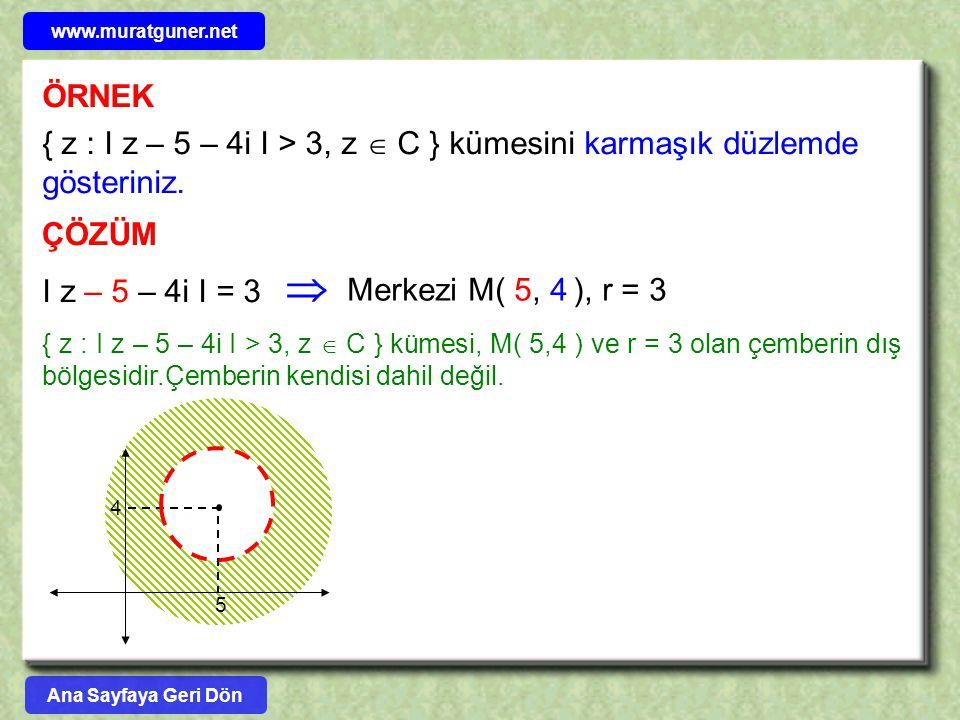 ÖRNEK { z : I z – 5 – 4i I > 3, z  C } kümesini karmaşık düzlemde gösteriniz. ÇÖZÜM I z – 5 – 4i I = 3 { z : I z – 5 – 4i I > 3, z  C } kümesi, M( 5