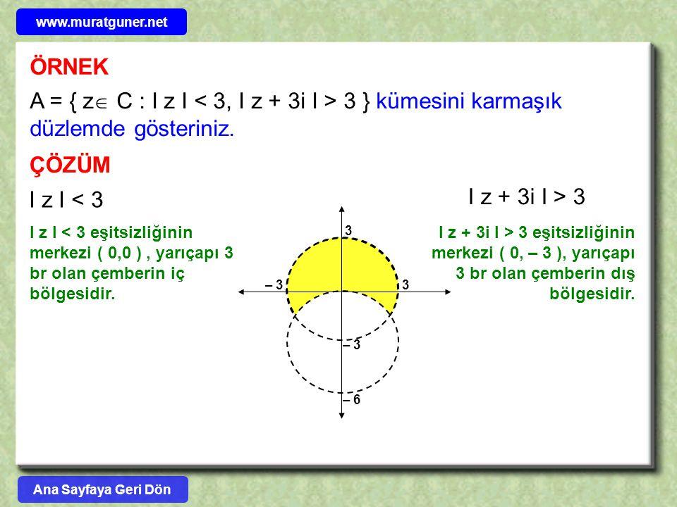 ÖRNEK A = { z  C : I z I 3 } kümesini karmaşık düzlemde gösteriniz. ÇÖZÜM I z I < 3 I z + 3i I > 3 I z I < 3 eşitsizliğinin merkezi ( 0,0 ), yarıçapı
