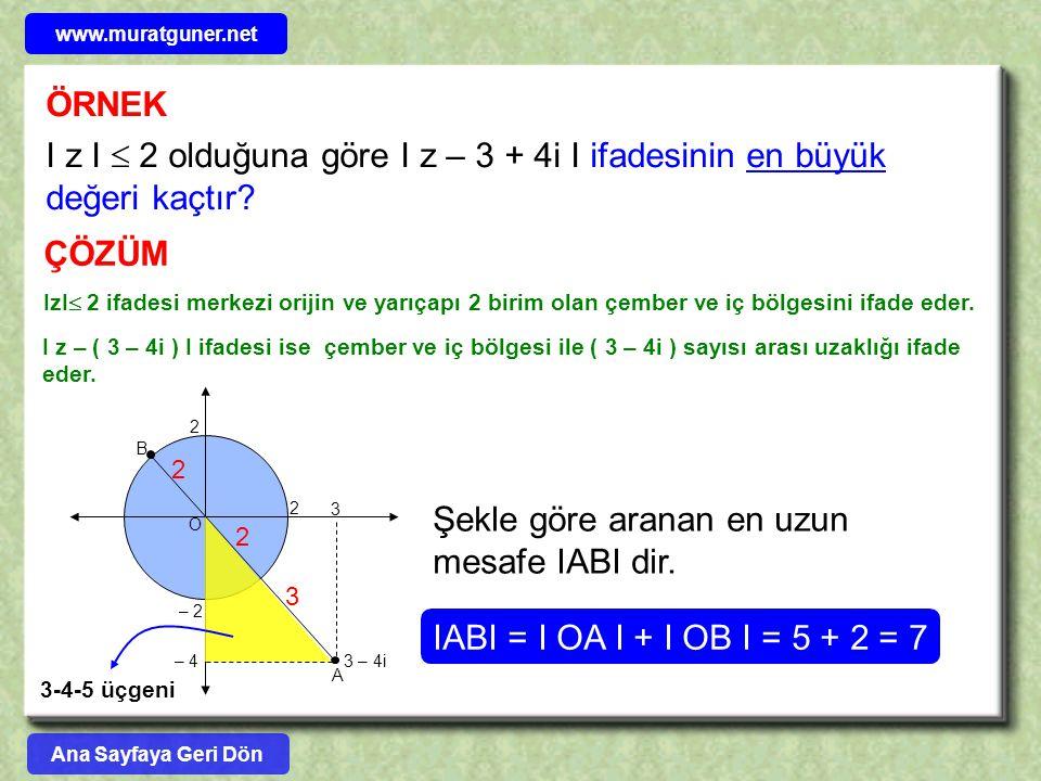 ÖRNEK I z I  2 olduğuna göre I z – 3 + 4i I ifadesinin en büyük değeri kaçtır? ÇÖZÜM IzI  2 ifadesi merkezi orijin ve yarıçapı 2 birim olan çember v