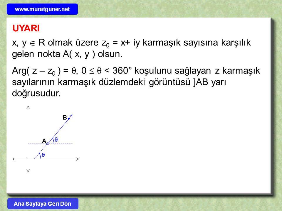 UYARI x, y  R olmak üzere z 0 = x+ iy karmaşık sayısına karşılık gelen nokta A( x, y ) olsun. Arg( z – z 0 ) = , 0   < 360° koşulunu sağlayan z ka