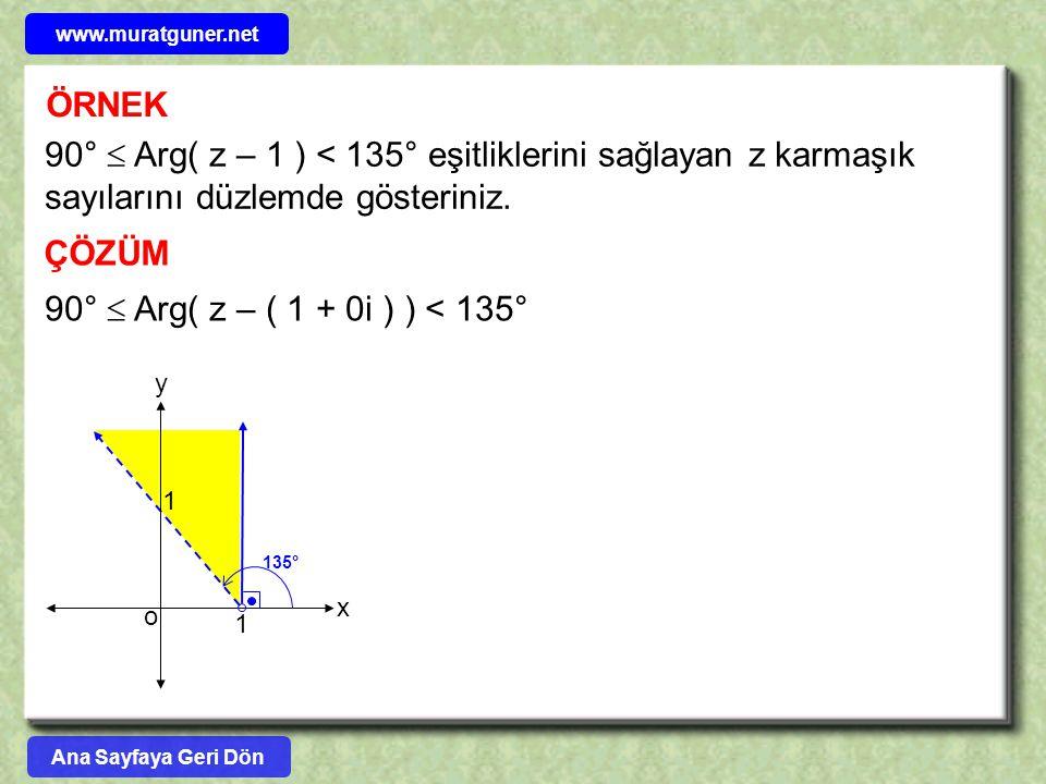 ÖRNEK 90°  Arg( z – 1 ) < 135° eşitliklerini sağlayan z karmaşık sayılarını düzlemde gösteriniz. ÇÖZÜM y o 1 x 1 135° 90°  Arg( z – ( 1 + 0i ) ) < 1