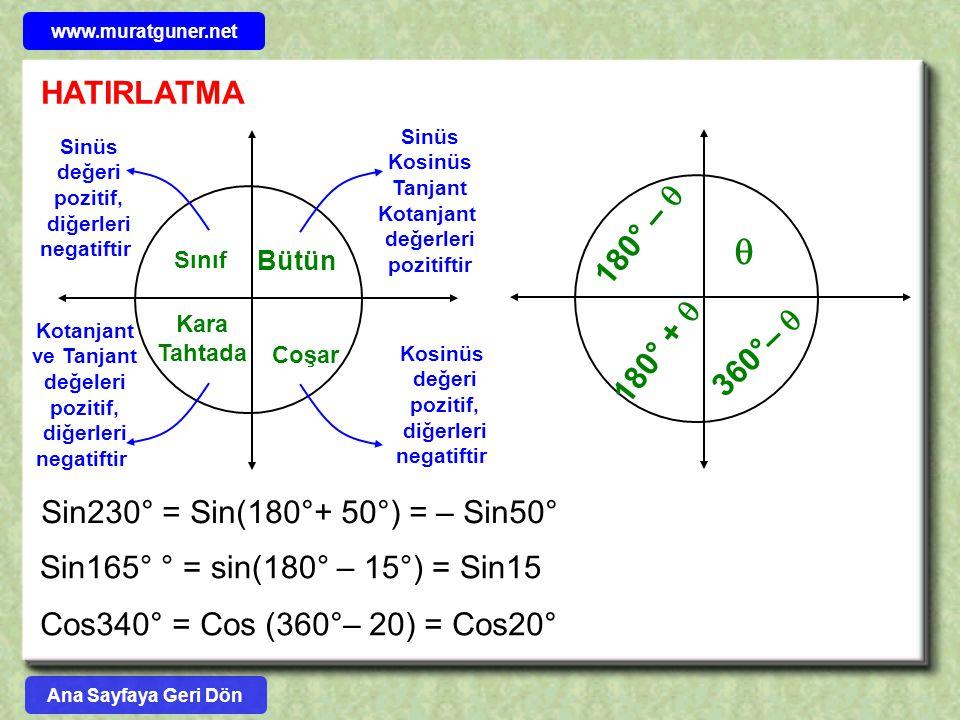 HATIRLATMA Bütün Sınıf Kara Tahtada Coşar Sin230° = Sin(180°+ 50°) = – Sin50° Sin165° ° = sin(180° – 15°) = Sin15 Cos340° = Cos (360°– 20) = Cos20° 