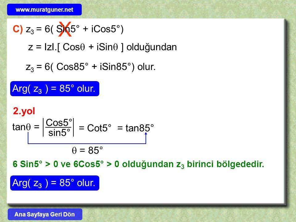 X C) z 3 = 6( Sin5° + iCos5°) z = IzI.[ Cos  + iSin  ] olduğundan z 3 = 6( Cos85° + iSin85°) olur. Arg( z 3 ) = 85° olur. 2.yol tan  = Cos5° sin5°