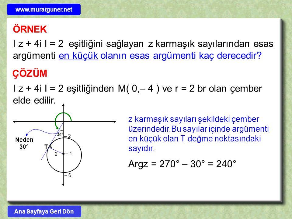 ÖRNEK I z + 4i I = 2 eşitliğini sağlayan z karmaşık sayılarından esas argümenti en küçük olanın esas argümenti kaç derecedir? ÇÖZÜM I z + 4i I = 2 eşi