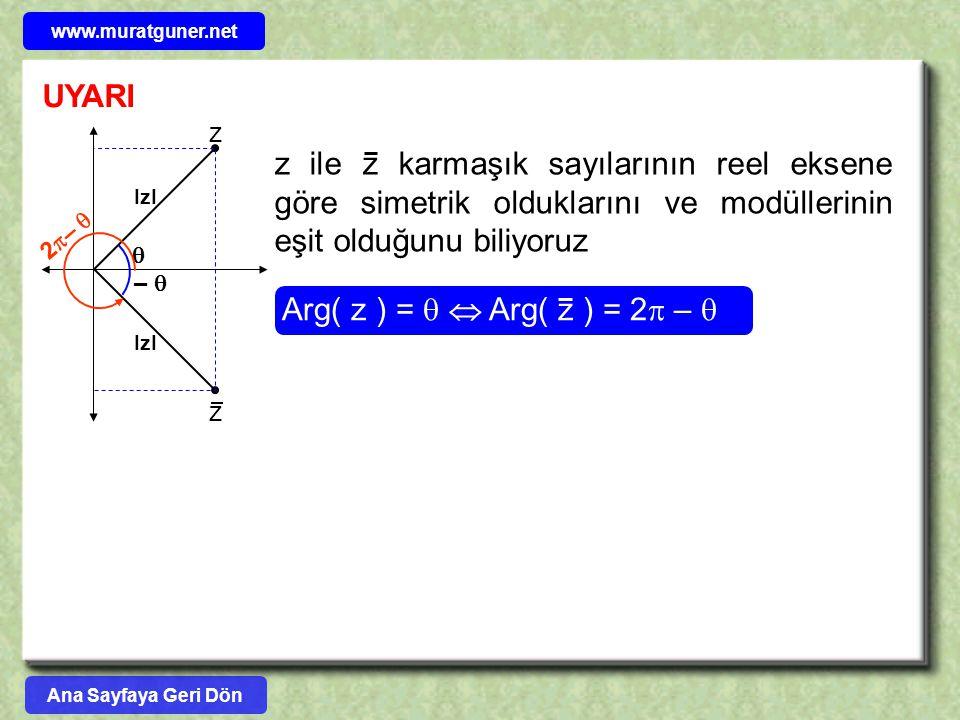 UYARI z ile z karmaşık sayılarının reel eksene göre simetrik olduklarını ve modüllerinin eşit olduğunu biliyoruz Arg( z ) =   Arg( z ) = 2  –   –
