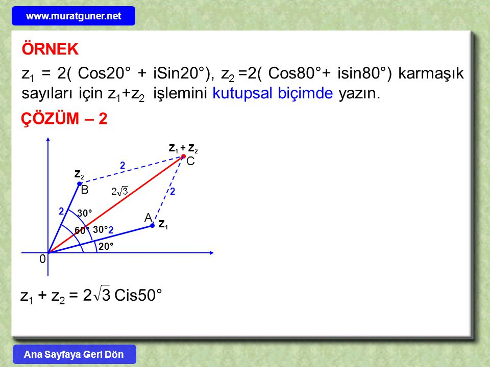 ÖRNEK z 1 = 2( Cos20° + iSin20°), z 2 =2( Cos80°+ isin80°) karmaşık sayıları için z 1 +z 2 işlemini kutupsal biçimde yazın. ÇÖZÜM – 2 Z2Z2 Z1Z1 Z 1 +