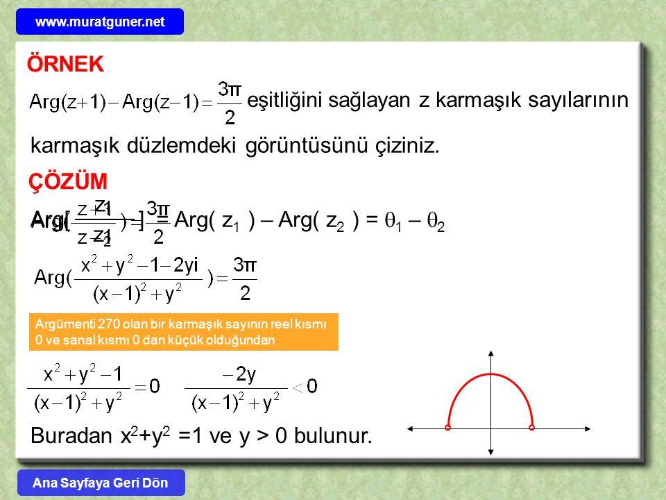 ÖRNEK karmaşık düzlemdeki görüntüsünü çiziniz. eşitliğini sağlayan z karmaşık sayılarının ÇÖZÜM z1z1 z2z2 Arg[ ] = Arg( z 1 ) – Arg( z 2 ) =  1 –  2