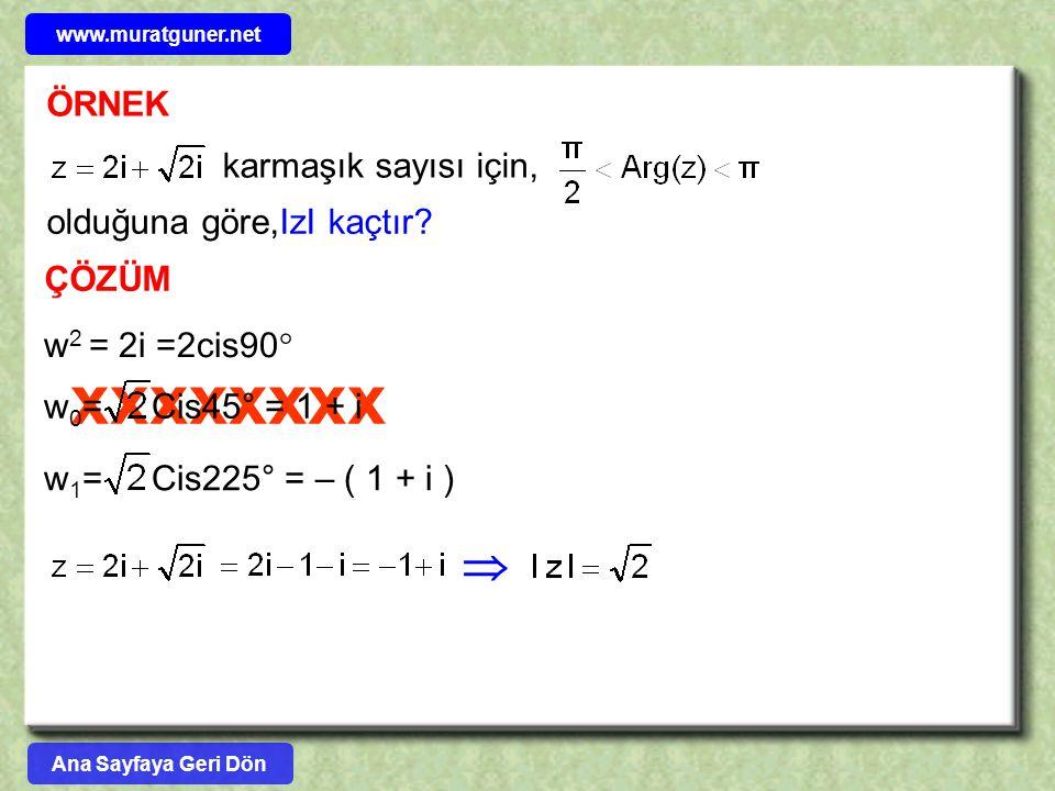 xxxxxxxx ÖRNEK karmaşık sayısı için, olduğuna göre,IzI kaçtır? ÇÖZÜM w 2 = 2i =2cis90  w 0 = Cis45° = 1 + iw 1 = Cis225° = – ( 1 + i )  www.muratgun