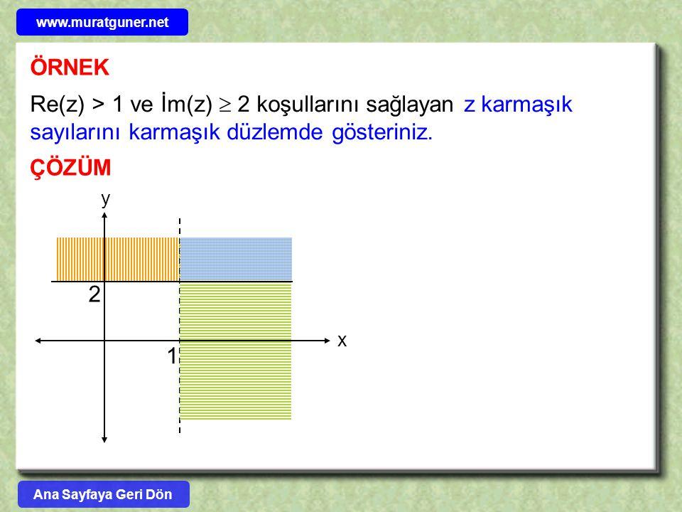 ÖRNEK Re(z) > 1 ve İm(z)  2 koşullarını sağlayan z karmaşık sayılarını karmaşık düzlemde gösteriniz. ÇÖZÜM 1 2 x y Ana Sayfaya Geri Dön www.muratgune